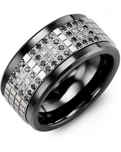 Men's Black White Diamonds Cubed Wedding Band   Monochrome