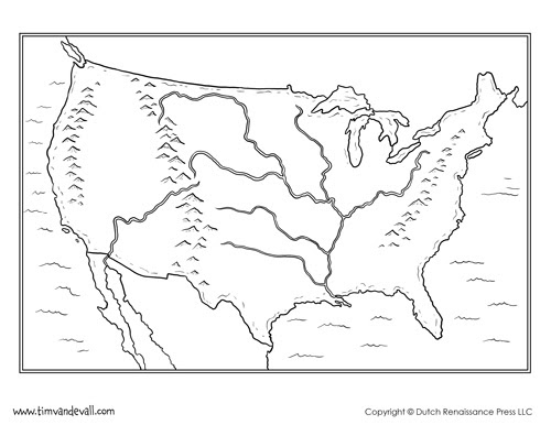Us Map With Rivers And Mountains Labeled