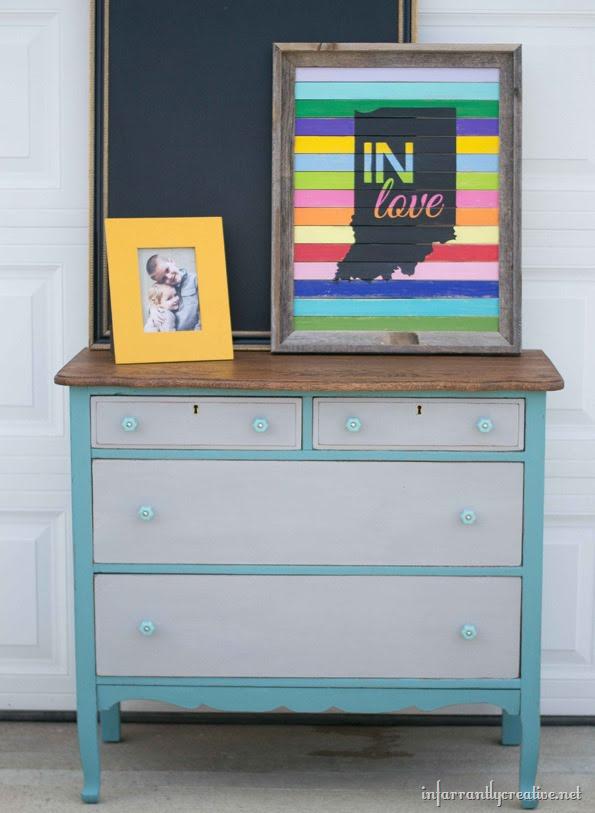 aqua and gray chalk painted dresser