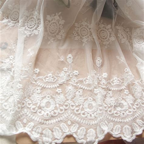 white lace fabric floral embroidered mesh soft diy dress