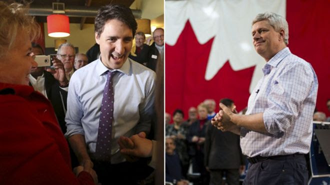 Justin Trudeau (left) and Stephen Harper (right) appearing at campaign events this week