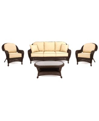 Monterey Outdoor Patio Furniture, 4 Piece Seating Set (1 Loveseat ...