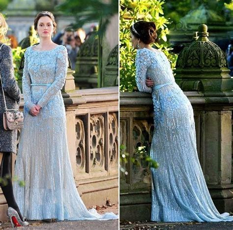 Long Sleeve Blue Wedding Dresses 2017 Gossip Girl Elie