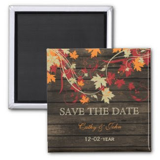 Barnwood Rustic ,fall leaves save the Date Refrigerator Magnet