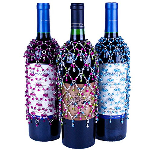 Pastel Double Dangle Wine Bottle Covers, Set of 3 Beaded Wine Skirts in Turquoise, Fuchsia, and Multicolor Jewel Tones