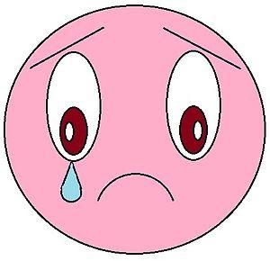 English: Pink emoticon crying