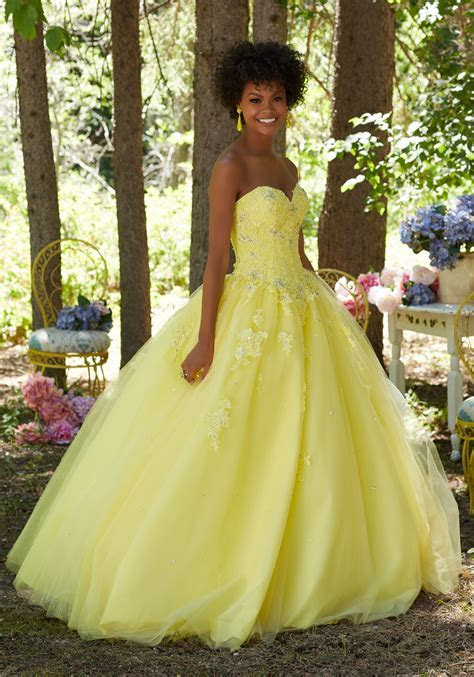Prom Ballgown with Beaded Lace Sweetheart Bodice   Style
