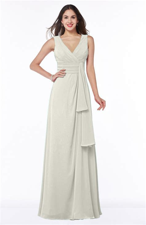 Cream Vintage Sleeveless Zipper Floor Length Sash Plus