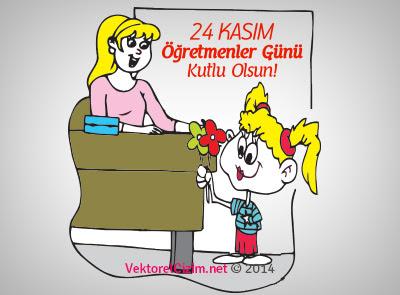 Vektörel çizim 24 Kasım öğretmenler Günü Kız öğrenci