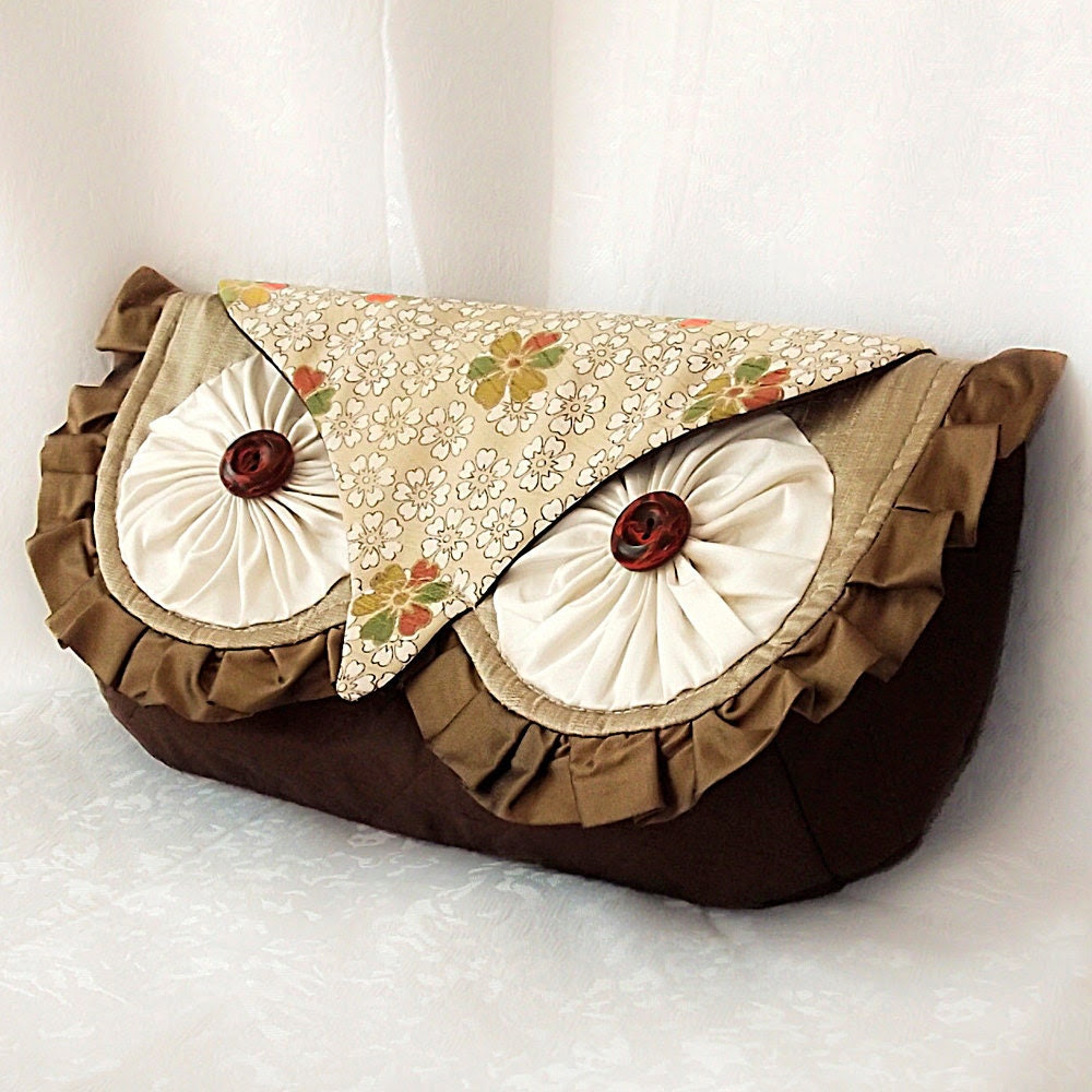 Silk Owl Clutch Bag- Luxury all Silk with Vintage Kimono and Quilting Woodland Hoot - MADE TO ORDER