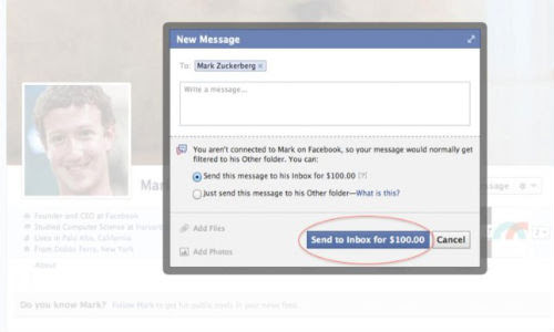 Facebook: Mark Zuckerberg Social Network Wants $100 to Message Him