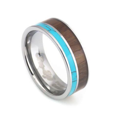 Turquoise Hawaii KOA Inlay mens tungsten Wedding rings 8mm