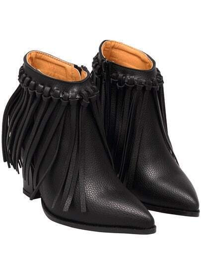 Black Point Toe Tassel PU Boots pictures