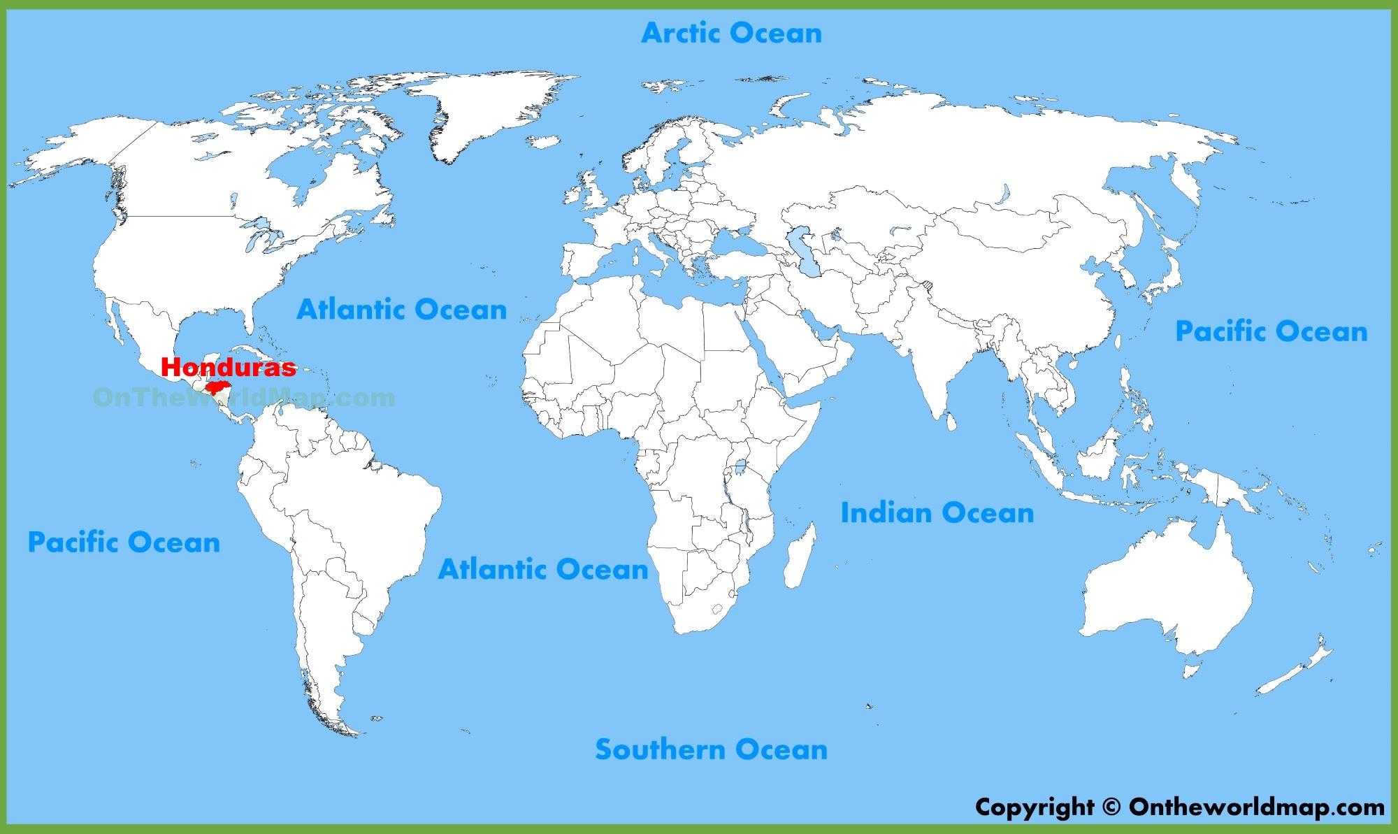 World Map Showing Honduras Honduras On A World Map | Global Map