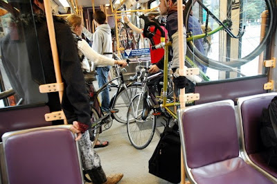 Image of bicycles on Tri-Met MAX car in Portland, OR