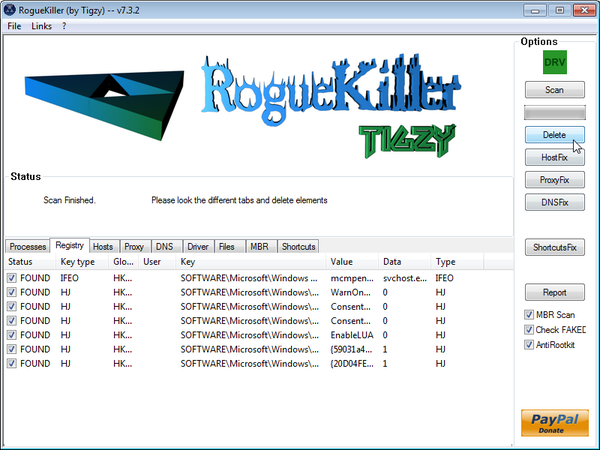 [Image: RogueKiller removing Trojan:Win32/Medfos.X]