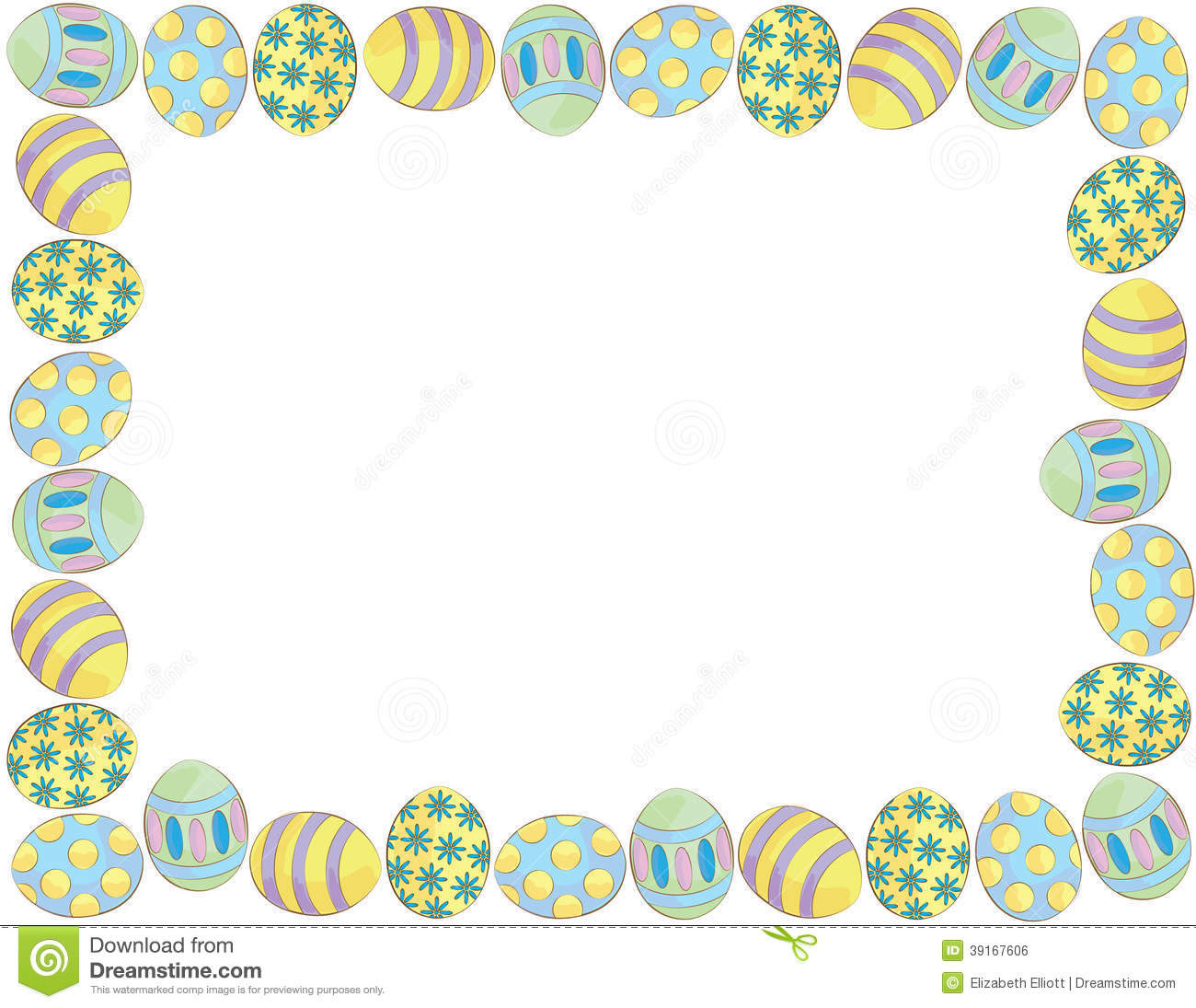 easter egg border clipart to color 6