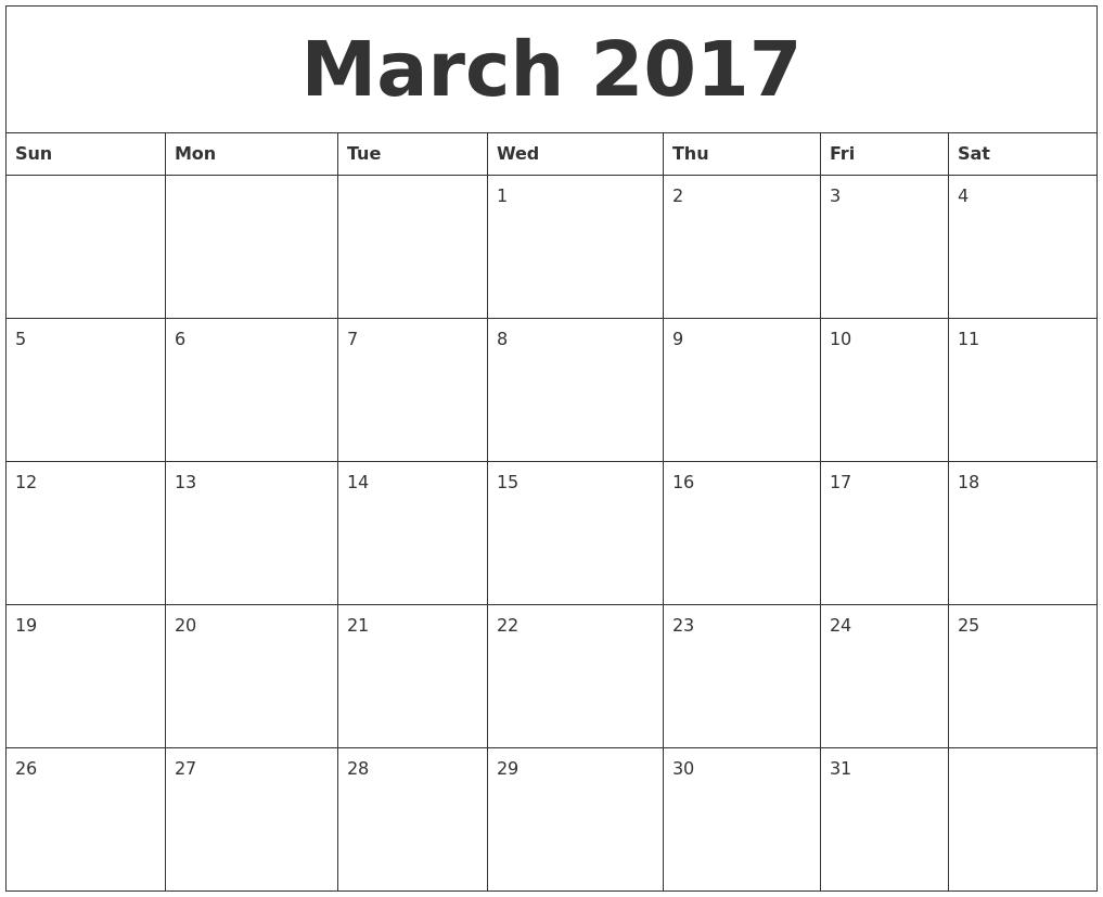 March 2017 Daily Calendar - Free Calendars 2017