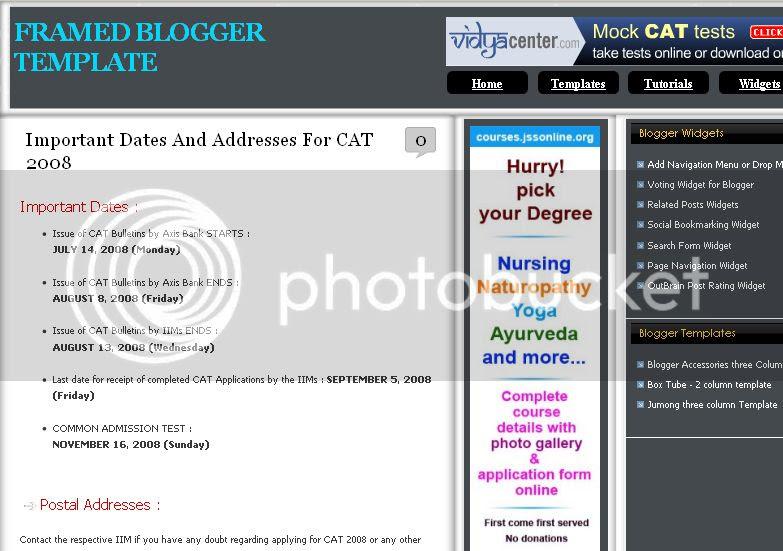 Framed three Column Blogger template
