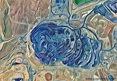Geometric Art: Goldstrike Mine, Betze-Post Open-Pit mine, Nevada, Open Pit Mining Art