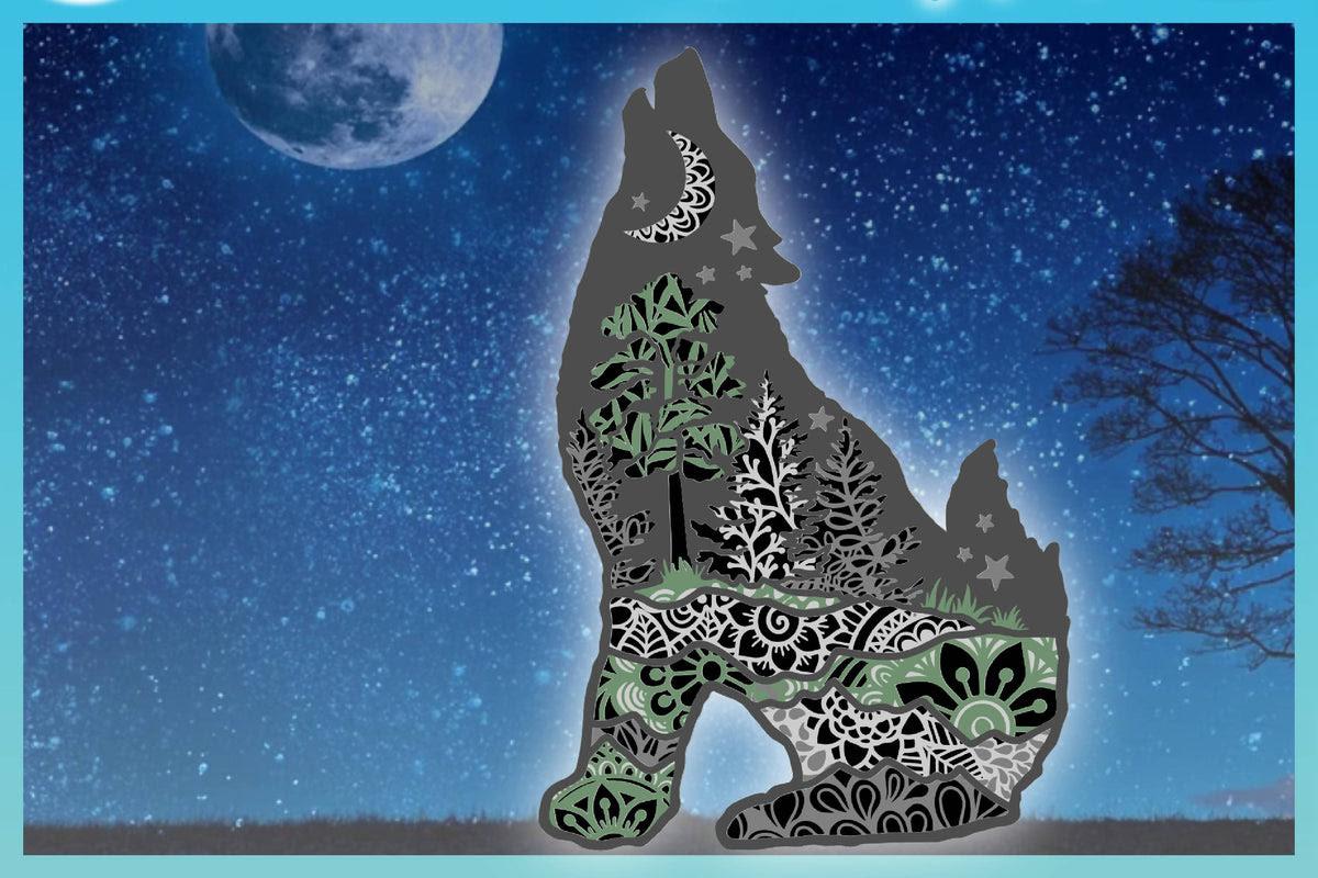 Download 3D Wolf Mandala Multi Layered Mandala Stacked SVG - Paper ...