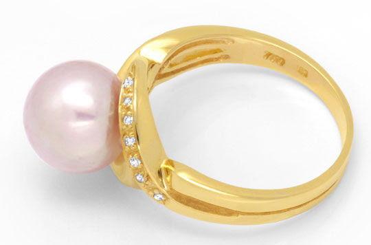 Originalfoto DIAMANT-RING, FEINSTE ROSA SÜDSEEPERLE, 18K GOLD LUXUS!