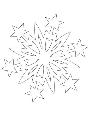 Dibujo De Copo De Nieve Con Estrellas De Navidad Para Colorear