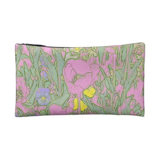 Pastel Pink Tulips Cosmetic Bag or Clutch Purse from Zazzle.