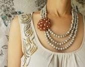 Brown Oatmeal statement jewelry, OOAK vintage enamel caramel flower brooch, Mad Man statement jewelry, Autumn Winter costume jewelry