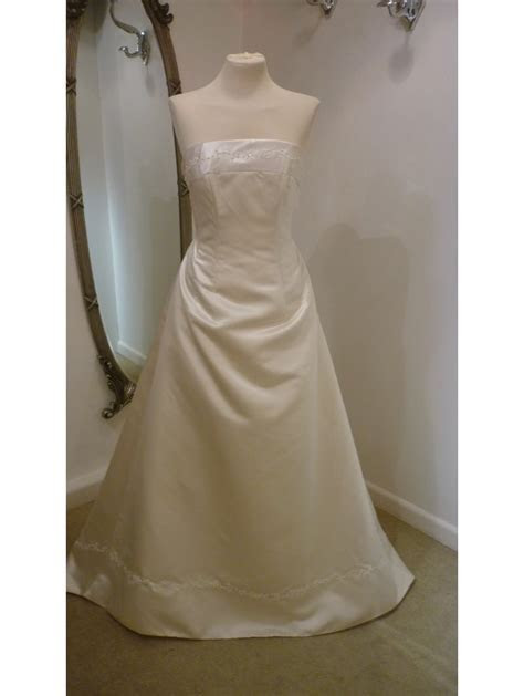 Strapless Sale Bridal Gown Champagne Satin A Line Size 14