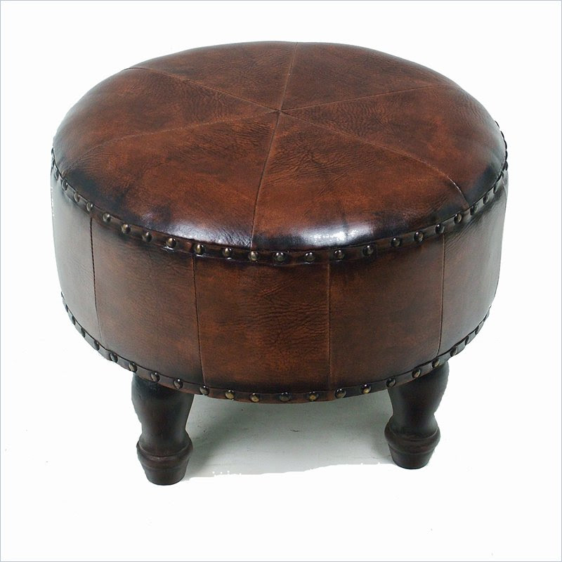 small round ottoman with brown leather and wooden leg for traditional and classic living room ideas