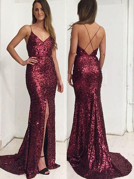 Spaghetti Straps Mermaid Long Burgundy Sequins Prom Dress