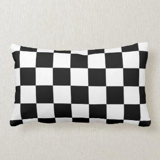 Checkered Black and White Throw Pillow