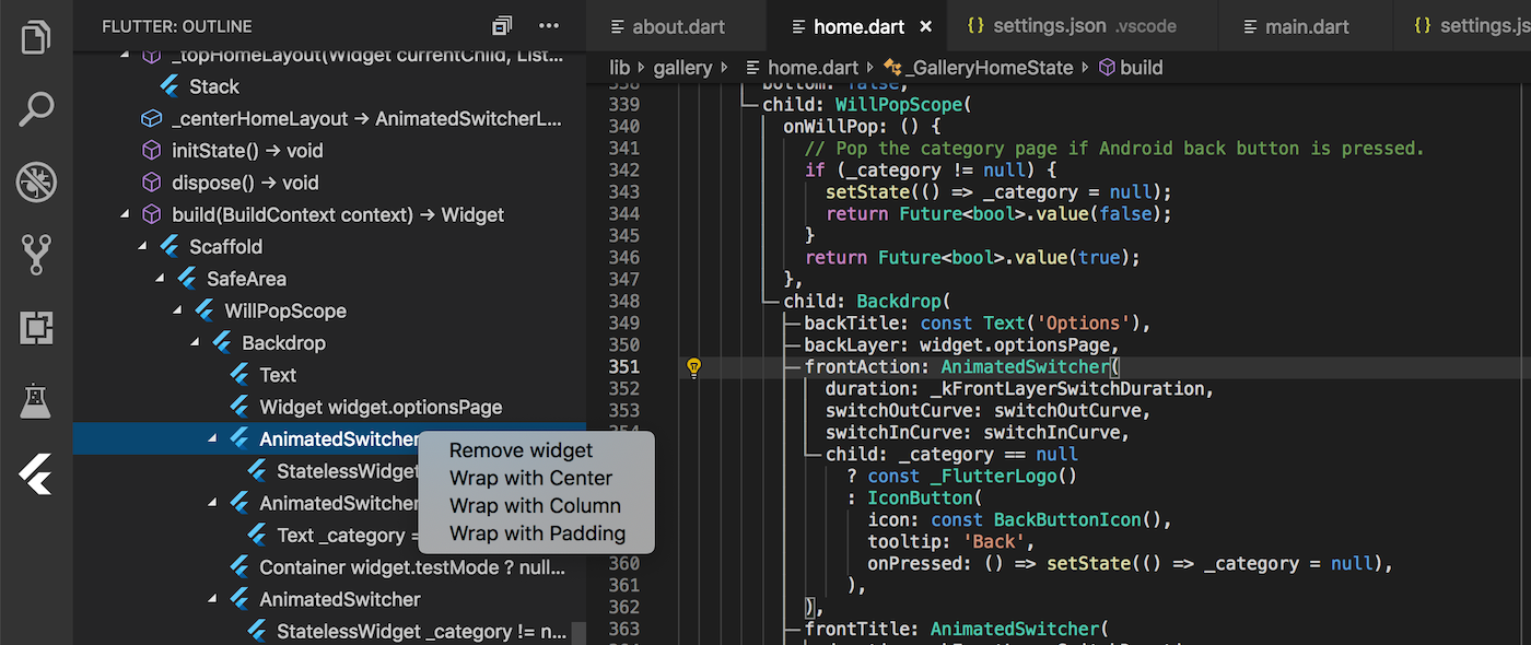 VS Code extensions v3 3 - Flutter Outline preview, improved device