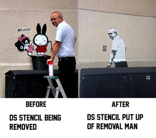 Street artist DS turns man removing graffiti into a new work of street art.