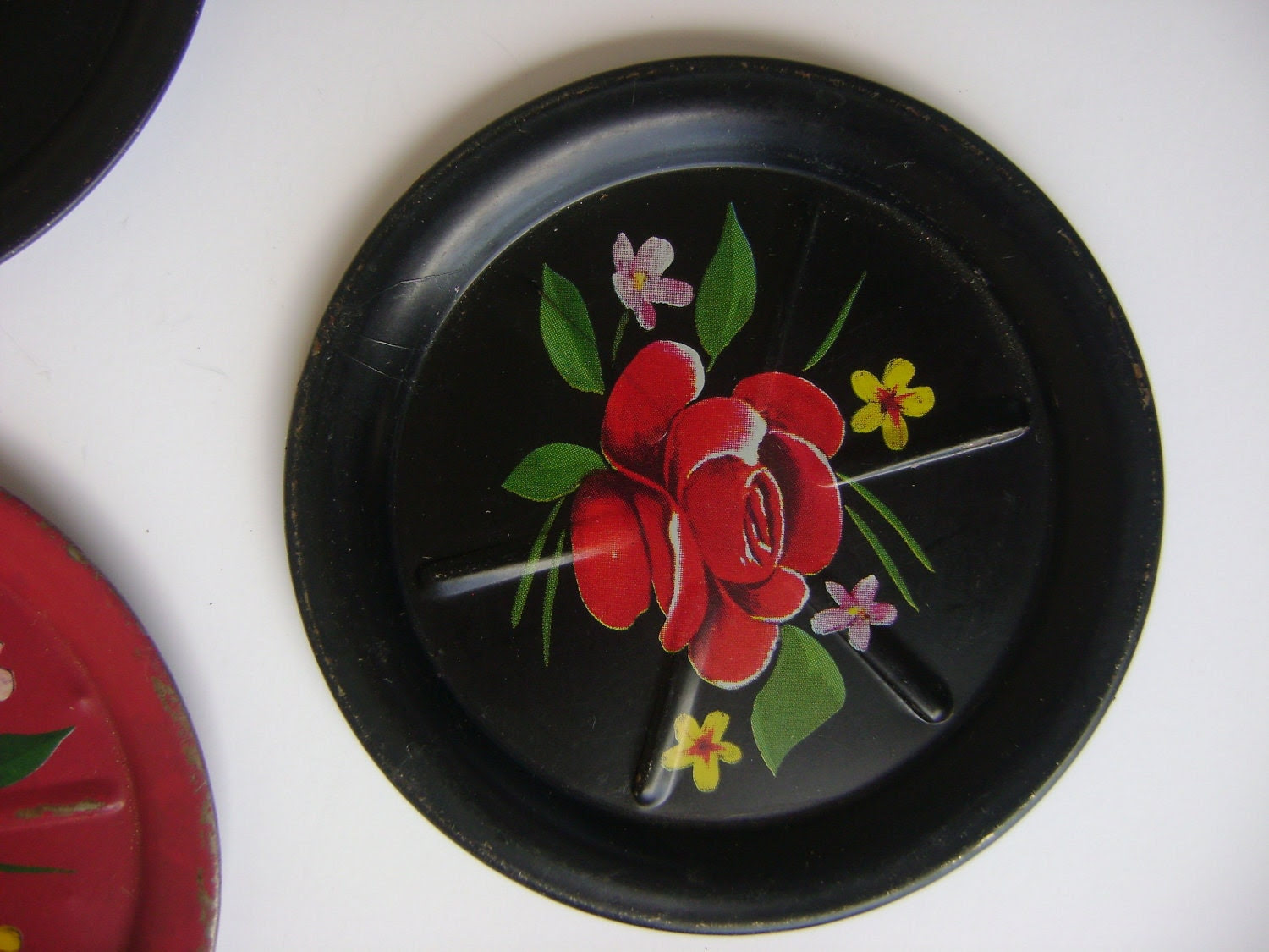 Vintage Tole Painted Coasters-1950's Decor-Summer Party-Teacher Gift - HallesHouse