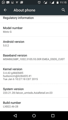 Asian Moto G Android 5.0.2 Lollipop
