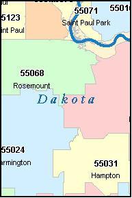 Dakota County Minnesota Digital Zip Code Map