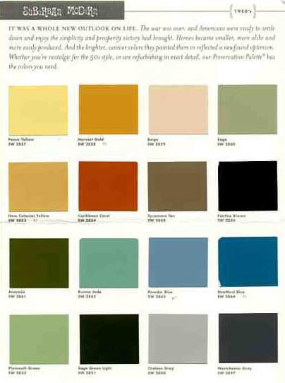 Sherwin Williams Suburban Modern paint colors: #1 for 50s style ...