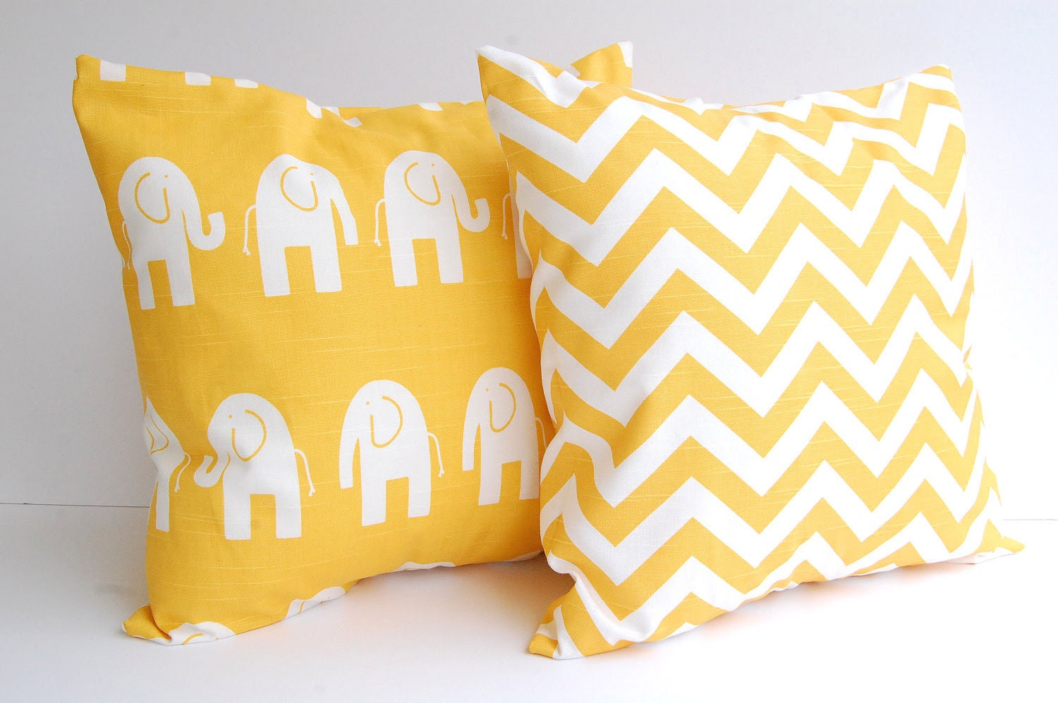 Throw pillows yellow set of two 16 x 16 by ThePillowPeople on Etsy