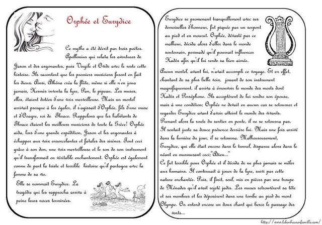 AAAAAAAAAAAAAAgrosse cartes mythe Orphée et Eurydice