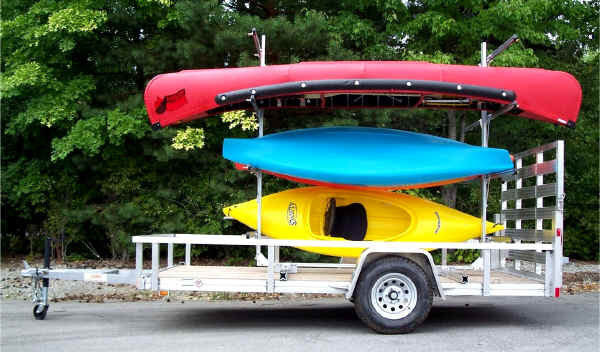 rack installed on trailex flatbed trailer canoes kayaks trailer frame