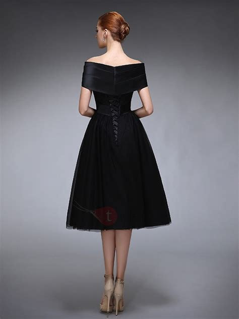 Off the Shoulder Lace Tea Length Black Evening Dress