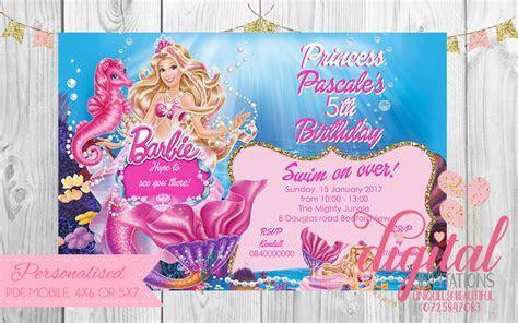 Barbie Pearl Princess Party Invitation Mermaid ? Digital