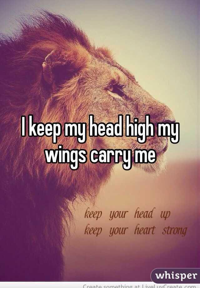 I Keep My Head High My Wings Carry Me