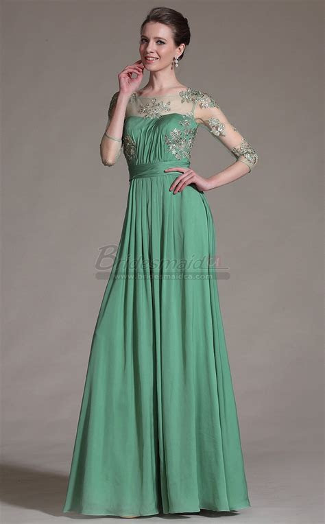 Long Scoop Neck Chiffon , Lace Green Bridesmaid Dress with