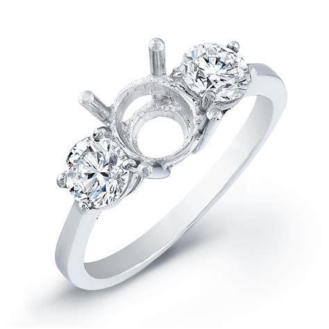 Three Stone Round Basket Set Engagement Ring