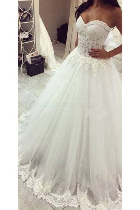 Ball Gown Sweetheart Lace Tulle Wedding Dresses Bridal