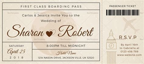 Wedding Boarding Pass invitation Ticket Design Template in