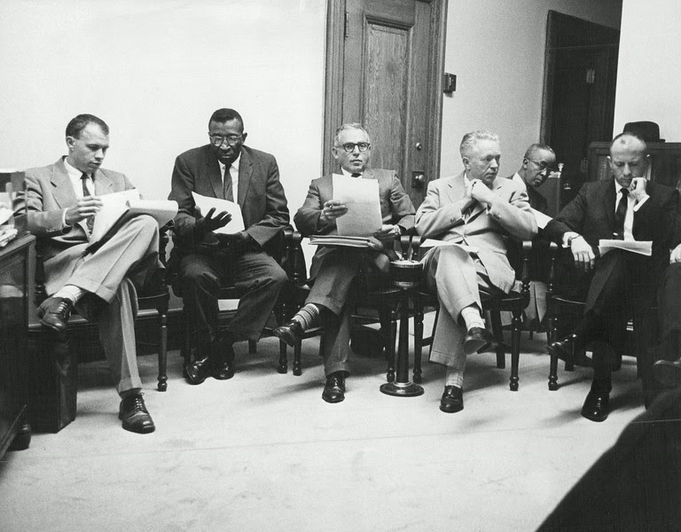 Description of  SEP 21 1963 - Civil Rights Organizations representatives at parade ordinance meeting. From left: Richard Young, James Reynolds, Edward Shoman, Alan Swallow, William Pinkett, Sheldon Steinhauser. (George Crouter /The Denver Post)